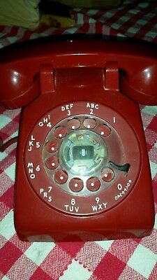 Vintage At&t Rotary Dial Desk Phone ~ Bright Red Color--Tested--Nice