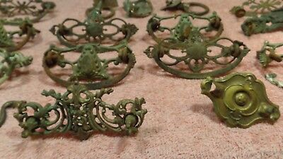 Antique 25  LOT Ornate Victorian Vintage Iron~Brass Furniture Drawer pulls~Mixed