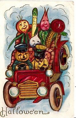 HALLOWEEN  Vegtables Dressed UP for Halloween Driving a Car