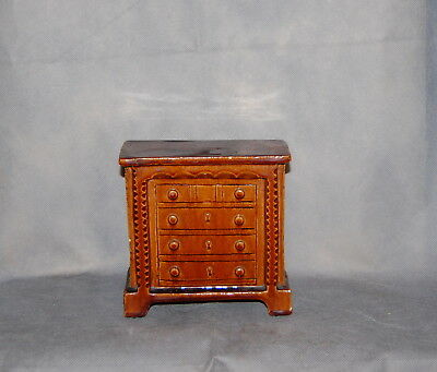 Antique English Yellow Ware Rockingham Glaze Pottery Chest of Drawers Money Bank