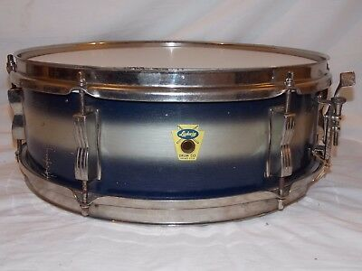 1959 Ludwig Pioneer Model Snare Drum Blue & Silver Nickle Plate Replaced Heads