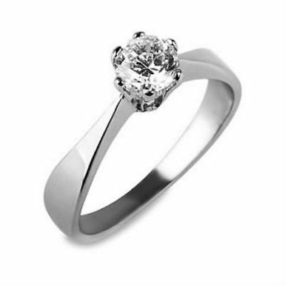 Solitaire Round Shape 0.7 Carat Diamond 18K White Gold Ring Size 5 6 7 8 9 Si