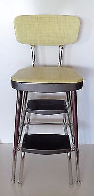 Rare Vintage Original Ames Maid Yellow And Chrome Kitchen Stool Chair - Clean