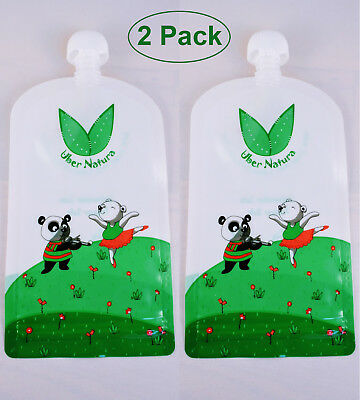TWO Uber Natura Kids' Reusable Refillable Homemade Food Pouches - 2 Pack