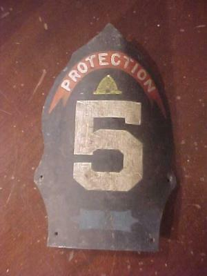 Early Hand Painted Protection #5 Fire Helmet Tin Front