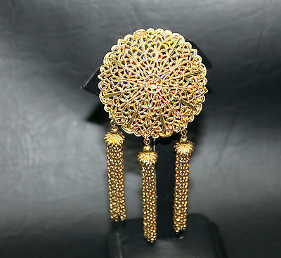 SHERMAN Signed  BROOCH/PIN FILIGREE Unique Gold Tone 1940's 50's Vintage