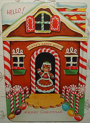 UNUSED - Gingerbread House, Candy Canes - 1950's Vintage Christmas Card