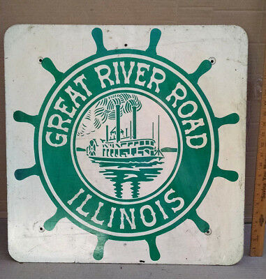 Vintage Original Illinois Great River Road Highway Sign
