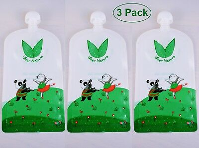 Reusable Food Pouches, Baby Food Pouches for Homemade Snacks - 3 Pack