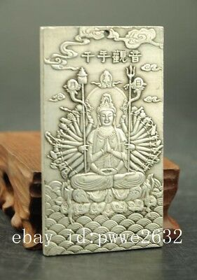 Old Tibet silver carving Thousand-Hand Kwan-yin statue Amulet periapt Pendant