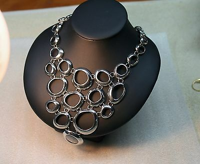 Lia Sophia Silver Colored  Necklace Bib Style Open Circles