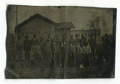 Antique Tintype Photo Coal Office Workers Posing In Front of Building Miners Tin