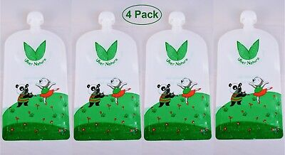 Uber Natura Reusable Food Pouches, Refillable Baby Food Pouches - 4 Pack