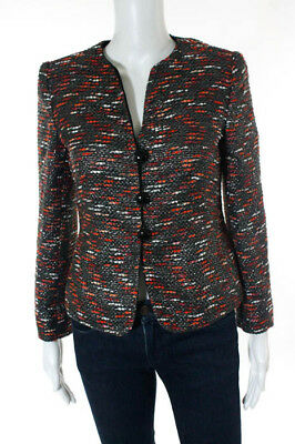 Armani Collezioni MultiColor Embellished Woven Knit Button Front Blazer Size 4