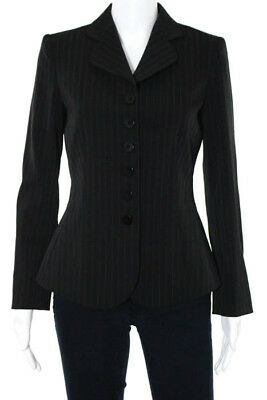 Armani Collezioni Black Striped Notch Collared Four Button Blazer Size 4