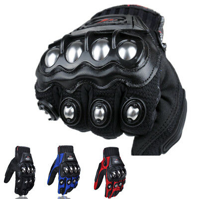 Mens Womens Leather Motorcycle Biker Full Finger Gloves Tactical Touch Screen US