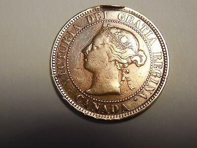 1884 Canadian LargePenny/Cent in VG condition. Little damaged. You decide!!!