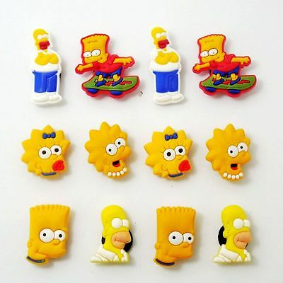 12pcs Cute Character Charms Fits Jibbitz Clog Shoes & Bands Wristband Child Gift