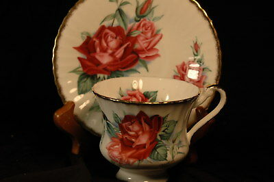 Paragon Red Roses Cup and Saucer -signed- Christan Dior