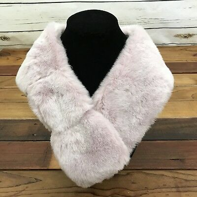 Grevi Firenze Faux Fur Neck Stole Wrap Scarf Italian Made Lavender Purple