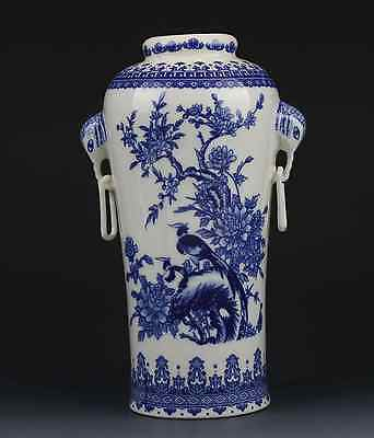 Chinese Blue and white porcelain Hand-painted Tree & Bird Vase W Qianlong Mark