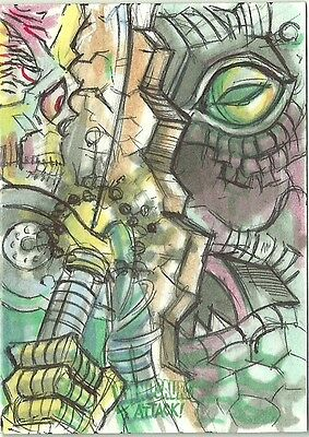 2016 Topps Mars Attacks Occupation vs Dinosaurs Sketch Card by Marck Labas