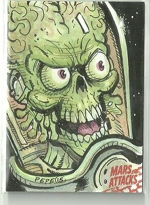 2016 Topps Mars Attacks Occupation - Death In The Cockpit Sketch by Darrin Pepe