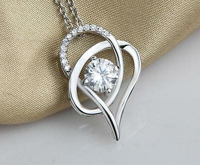 STERLING SILVER CZ CRYSTAL HEART PENDANT NECKLACE: Free Fast Shipping in Canada