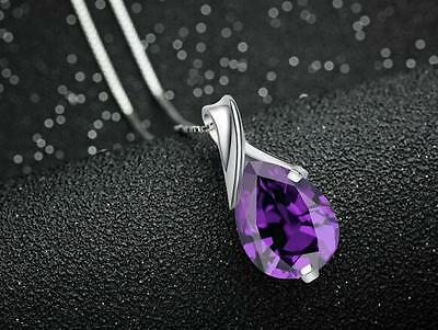 STERLING SILVER PURPLE CRYSTAL PENDANT NECKLACE: Free Fast Shipping in Canada