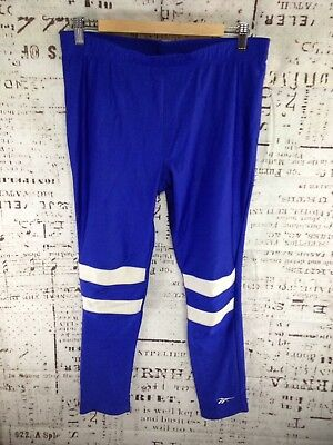 VTG 80s Reebok Tights SHINY Vintage SPANDEX Lycra Pants UNISEX Blue LARGE USA
