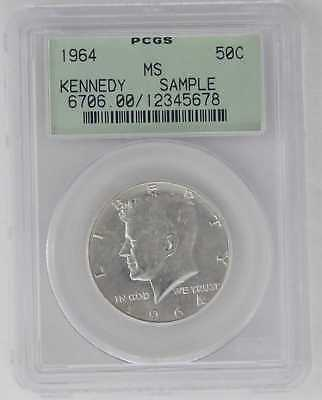 1964 Kennedy Half Dollar 50C Pcgs Sample Holder Early Gen Green Rare