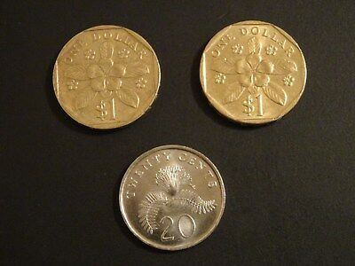 Lot of 3 Singapore Coins - Circulated - 20 Cents and 1 Dollar 1997 - 2008