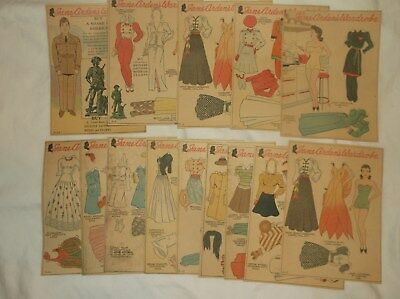 Vintage Sunday Comics Pages Strip 1940's Lot Of (14) Jane Arden's Cut-Outs Dolls