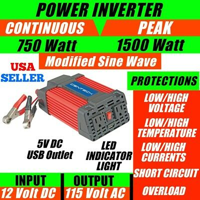 *new* Cen-Tech 750 Watt Continuous 1500 Watt Peak Max Power Inverter Converter!!
