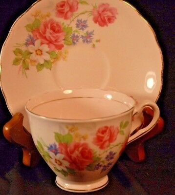 Colclough Pink Floral Cup and Saucer