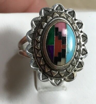 Carolyn Pollack QT Sterling Concho OVAL Ring Size 7.5 Multi Stone Inlay