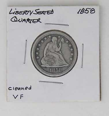 1858 Liberty Seated Quarter 25C Cleaned Vf Great Details!