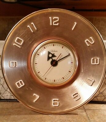 """Vintage GE Telechron metal copper electric 10"""" round wall clock"""