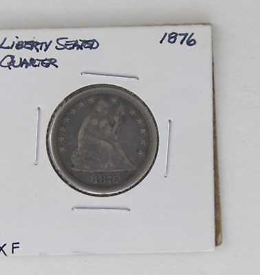 1876 Liberty Seated Quarter 25C Xf Sharp Details