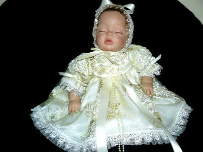 Ivory Tulle Embroidered Floral/sequins Dress For Reborn Or Baby Size 0-3 Month