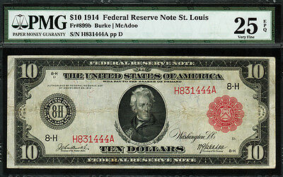 1914 $10 Red Seal - Federal Reserve Note St. Louis - FR-899b - PMG 25 EPQ - RARE
