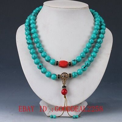 100% turquoise&Red Coral & Brass Handwork Decoration Necklaces XL053