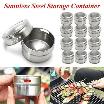 Magnetic Spice Tin Stainless Steel Storage Container Jar Clear Lid D:6.5cm  IW