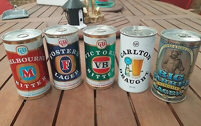 750ml beer cans. VB, Fosters, Melbourne Bitter, Carlton Draught & Cooper & Sons