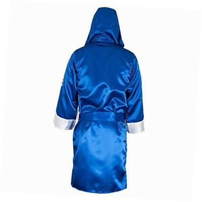 satin boxing robe with hood - x-large - blue/white