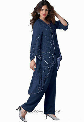 Vintage Navy Blue / Purple Mother of the Bride Pants Suit Long Sleeves 3 Pieces