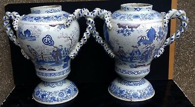 Nevers Grande Paire De Vases Pots Faience Xviieme Xviiieme Decor Chinois H.40Cm.