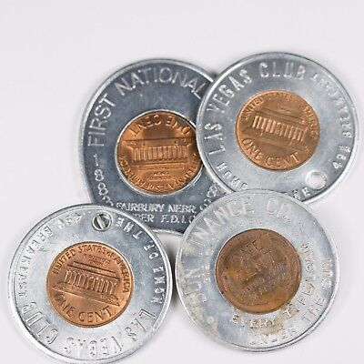 Lot of 4 Encased Cents Lucky Pennies
