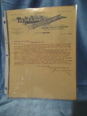 "9131 ~ Vintage 1896 ""THE DELAVAL SEPARATOR COMPANY"" Letter"