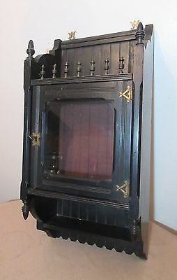 antique ornate ebonized wood brass aesthetic movement wall cabinet display shelf